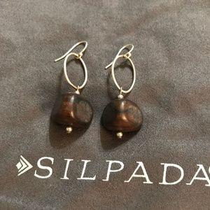 Silpada Sterling Silver Ebony Wood Earrings W1364